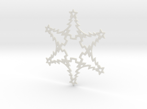 Christmas Tree Snowflake Ornament in White Strong & Flexible