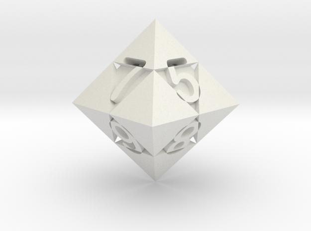 Optical Art D8 Dice in White Natural Versatile Plastic