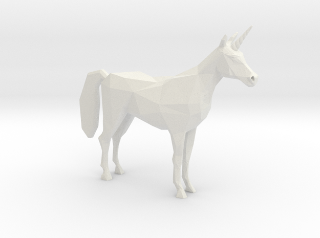 Lowpoly Unicorn in White Natural Versatile Plastic