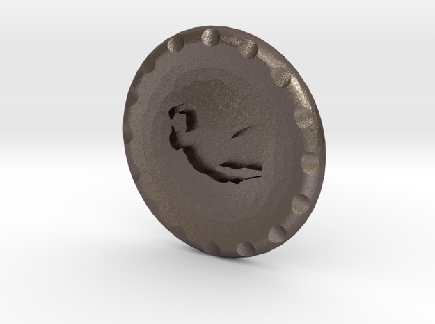 Golf Ball Marker Tiger in Polished Bronzed Silver Steel