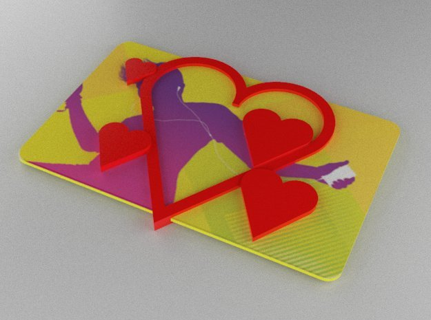 Gift Card Holder Multiple Hearts in Red Processed Versatile Plastic