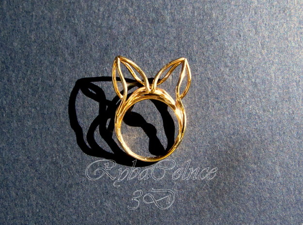 The Ears Ring / size 6US (16.5mm) in 14k Gold Plated Brass