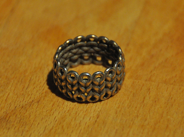 Knitter's Ring in Polished Bronzed Silver Steel: 9 / 59
