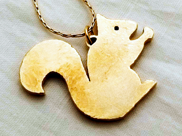 Nutty Squirrel™ Charm in Natural Brass