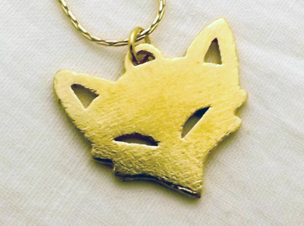 Mischievious Fox Charm in Raw Brass