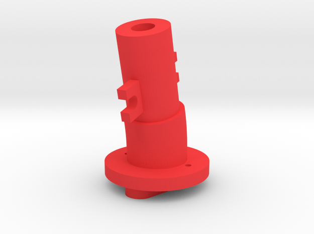 Thrustmaster joystick tailpiece, 13 deg. angle in Red Processed Versatile Plastic