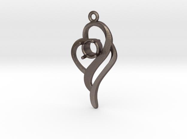 Gemstone Pendant  in Stainless Steel