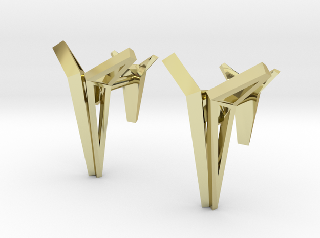 YOUNIVERSAL Origami Structure, Cufflinks in 18k Gold Plated