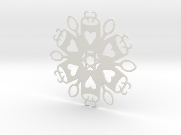 Coffee & Spoon Snowflake Ornament in White Natural Versatile Plastic
