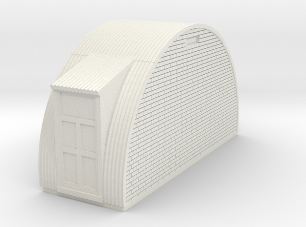 N-87-complete-nissen-hut-end-brick-2-door-16-36-1a in White Natural Versatile Plastic