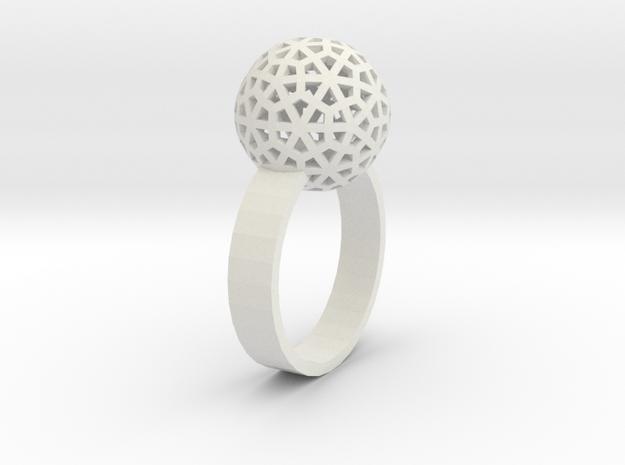 Flower Ring in White Natural Versatile Plastic: 6 / 51.5