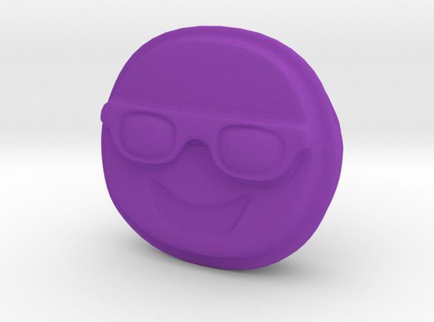 Happy EMOJI Face with Sunglasses Pendant Charm in Purple Processed Versatile Plastic