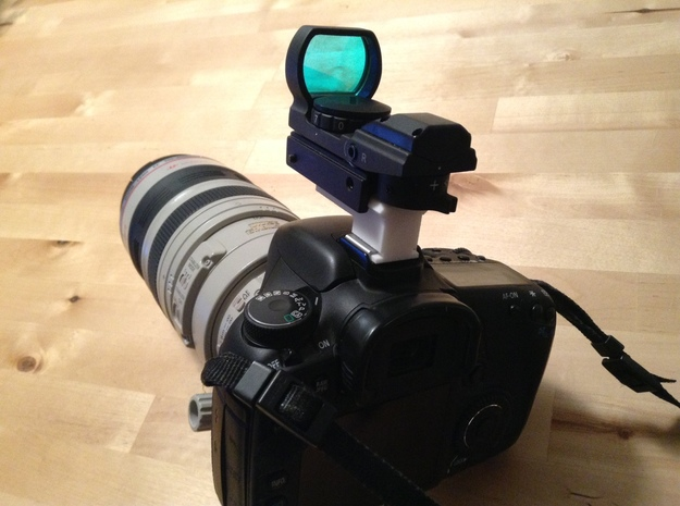 Weaver To Hotshoe Adapter 3d printed On camera