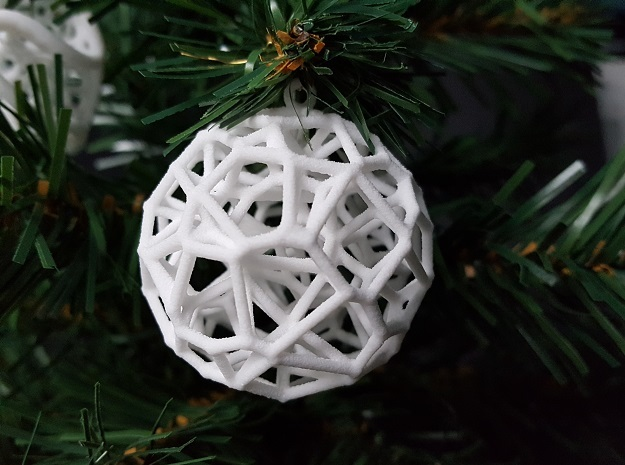 Voronoi Christmas Bauble  in White Strong & Flexible
