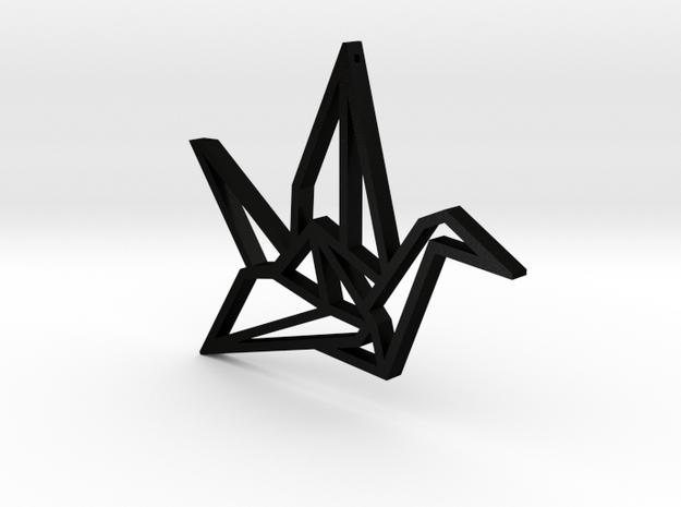 Crane Pendant L with hole in Matte Black Steel