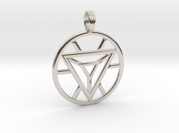 IRON MAN HEART REACTOR in Rhodium Plated Brass