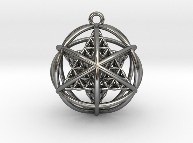Flower of Life Planetary Merkaba in Polished Silver