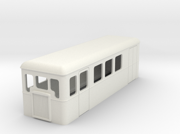 TTn3 single ended railcar with parcel section in White Natural Versatile Plastic