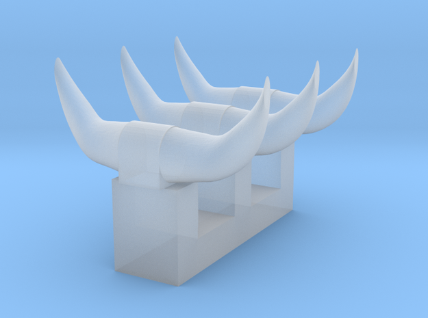3 sets of short horns in Smooth Fine Detail Plastic