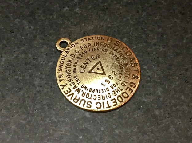 Center of the Nation Benchmark Replica Keychain in Natural Bronze