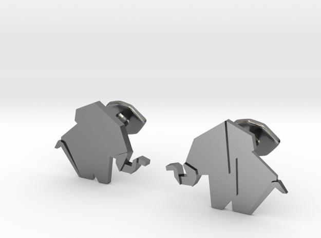 Origami Elepant Cufflink in Polished Silver