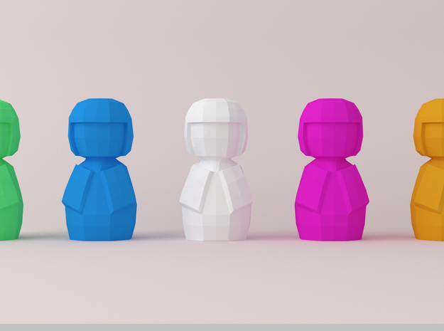 Kokeshi Low Poly  Style in Purple Strong & Flexible Polished: 1:12