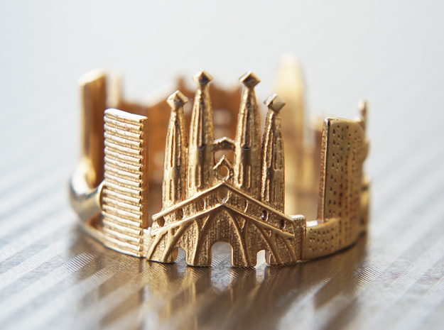 Barcelona Skyline - Cityscape Ring in Polished Bronze: 10.25 / 62.125