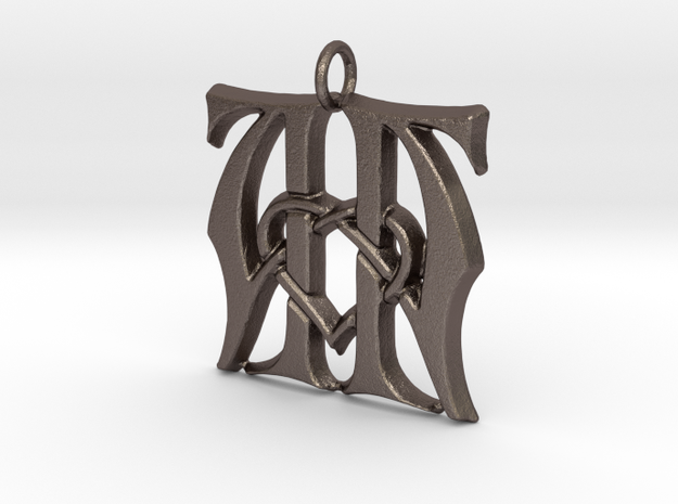 Monogram Initials AA.2 Pendant in Polished Bronzed Silver Steel
