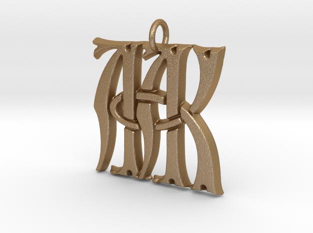 Monogram Initials AAK Pendant  in Matte Gold Steel