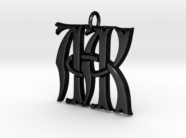 Monogram Initials AAK Pendant  in Matte Black Steel