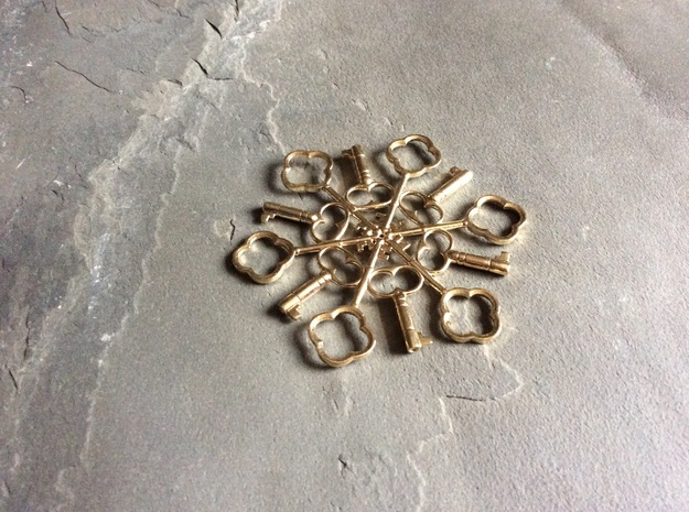 Snowflake Key Decoration in Natural Brass