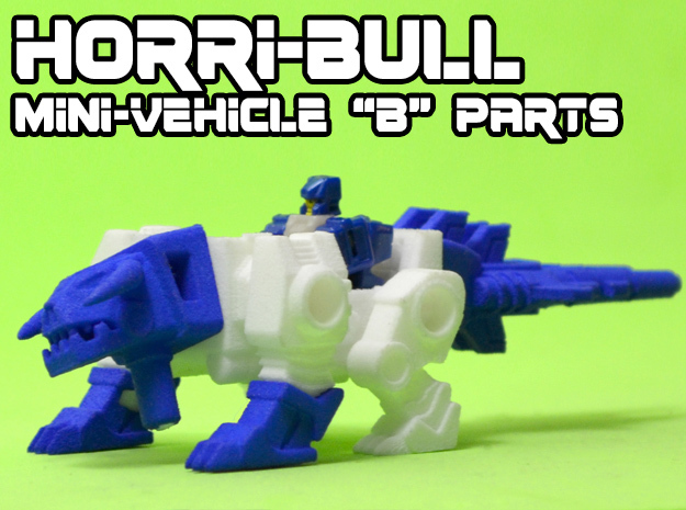 "Horri-Bull Minivehicle, ""B"" Parts in White Natural Versatile Plastic"