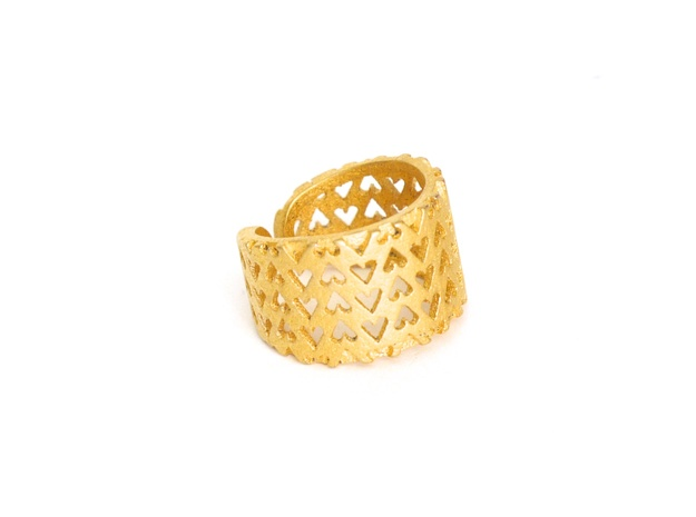 Inverted Hearts Ring in Polished Gold Steel: 7 / 54