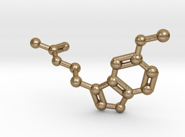 Melatonin Molecule Keychain in Polished Gold Steel