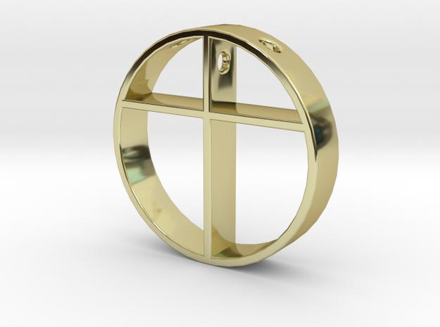 Cross pendant for men. in 18k Gold Plated Brass
