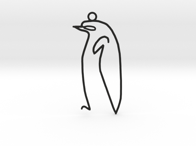 Picasso's sketch - Penguin Pendant in Black Strong & Flexible