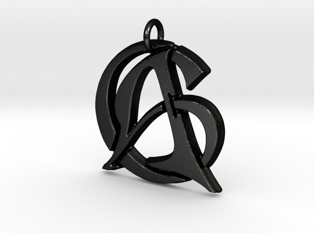 Monogram Initials AC Pendant  in Matte Black Steel