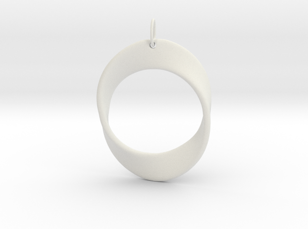 Mobius Strip Pendant in White Natural Versatile Plastic