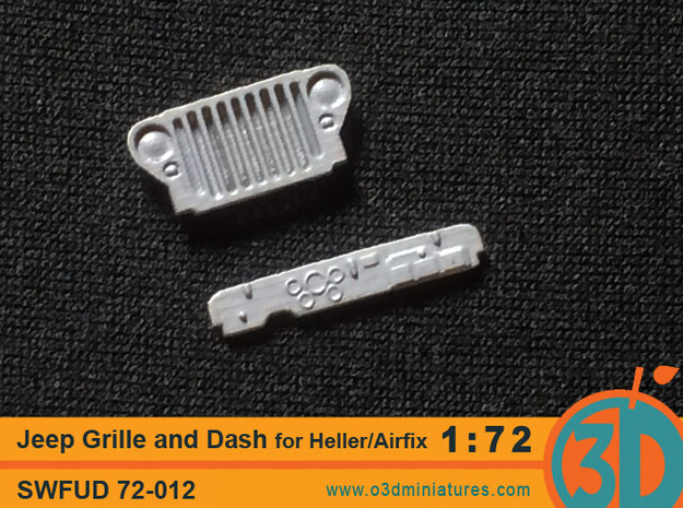 Jeep Grille and Dash for Heller/Airfix kit 1/72 sc in Smooth Fine Detail Plastic