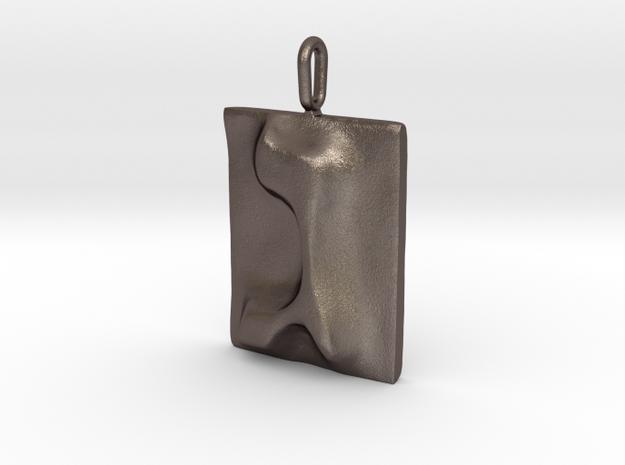 03 Gimel Pendant in Polished Bronzed Silver Steel
