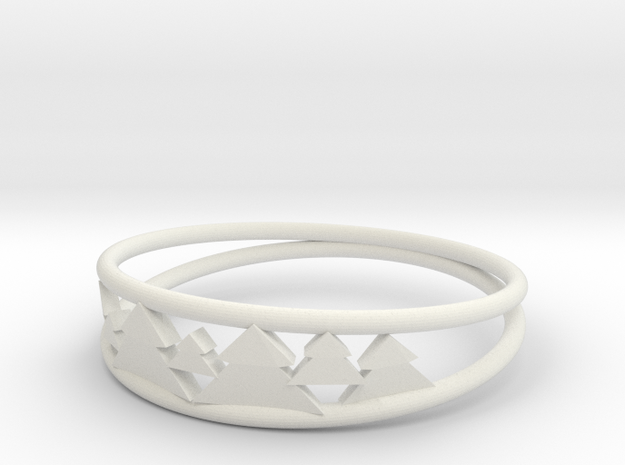 Pine Tree Ring in White Strong & Flexible