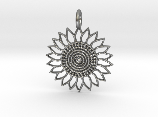 Sunflower Pendant in Natural Silver