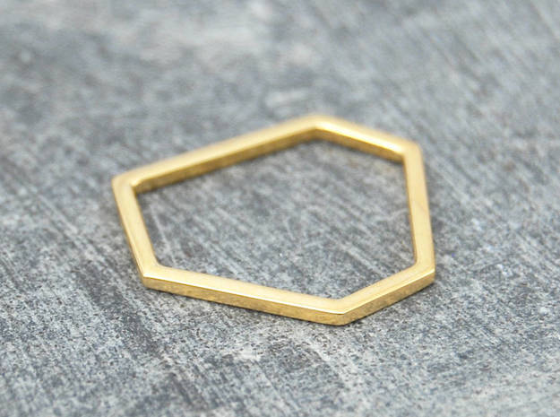 Squashed Hex Ring Sizes 6-12 in 14k Gold Plated Brass: 6 / 51.5