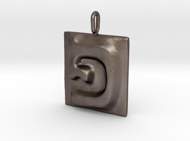 17 Pe Pendant in Polished Bronzed Silver Steel
