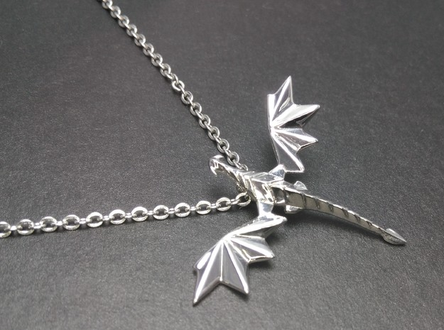 Origami dragon pendant in Rhodium Plated Brass