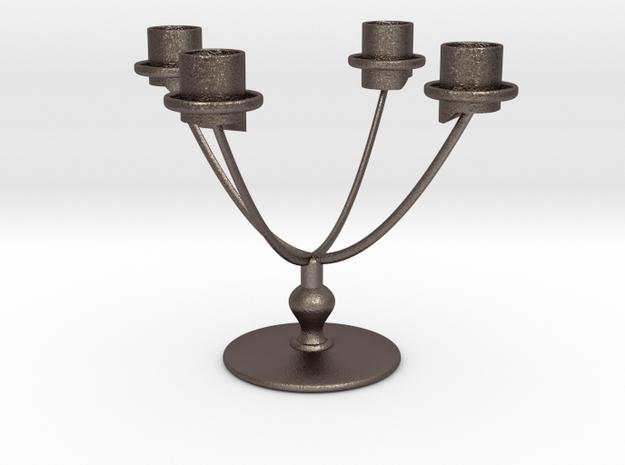 Candle Holder Model U4 in Polished Bronzed Silver Steel