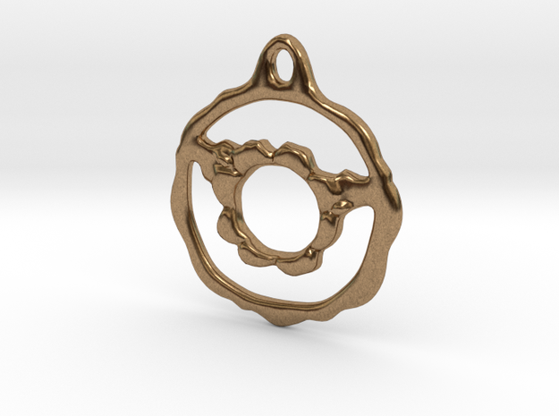 Flowery Hoop Pendant in Natural Brass