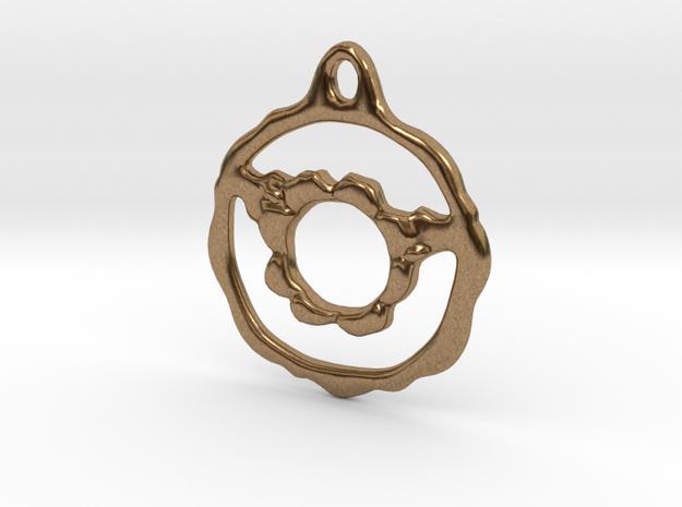 Flowery Hoop Pendant in Natural Brass
