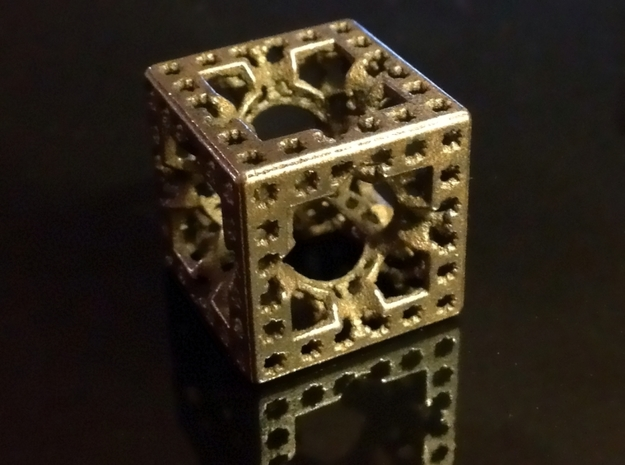 Hyper Solomon cube in Polished and Bronzed Black Steel