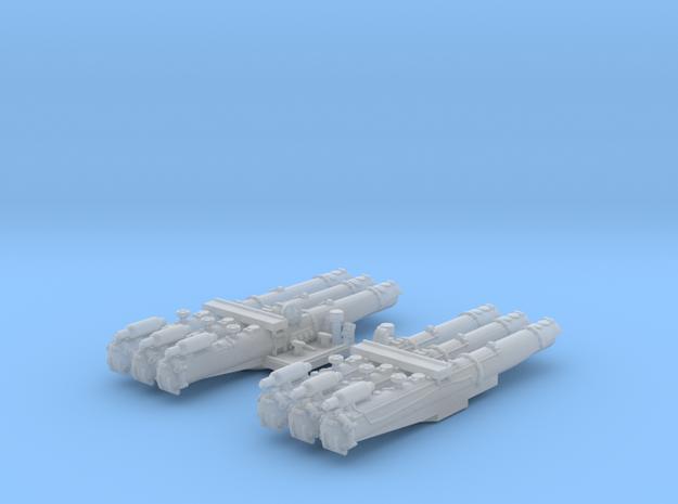 "1/500 WW2 RN 21"" Triple Torpedo Mounts (2) in Smooth Fine Detail Plastic"